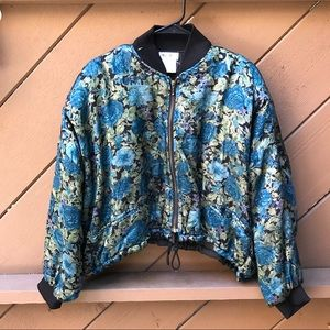 Jackets & Blazers - Vintage 80s Cropped Floral Bomber Jacket