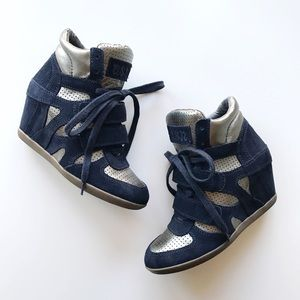 Ash Shoes - Ash Bowie Wedge High Top Suede Sneakers