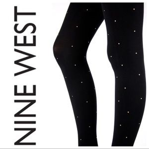 Nine West Accessories - Nine West Gold Stud Black Opaque Tights M/L NWT