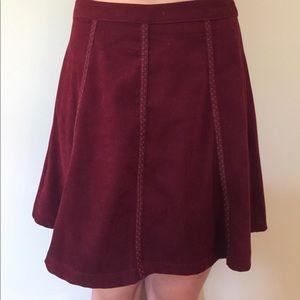 Dresses & Skirts - velvet maroon skirt with stripe design- NEVER WORN