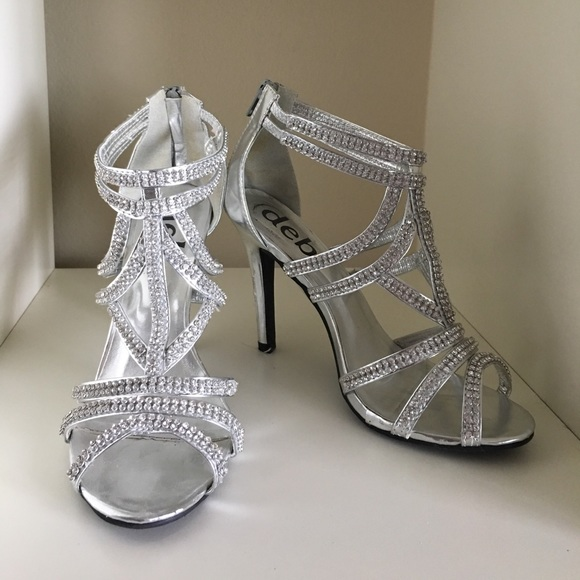 7def6d7b83f Silver, diamond prom, wedding, fancy heels