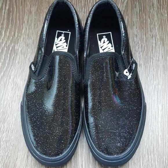 1c826f8b50 New Vans black glitter patten slip on sneakers