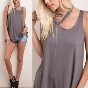 MACIE cut out sleeveless top - GREY