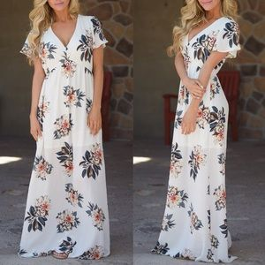 ADALINE floral maxi dress - IVORY