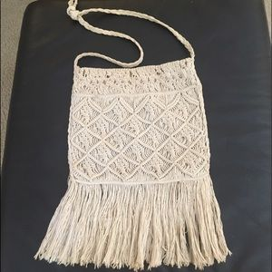 Vintage 1960's macrame boho purse