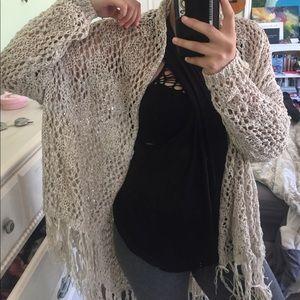 Beige knit fringe cardigan