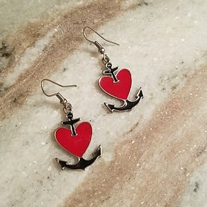 Red heart and anchor hook earrings