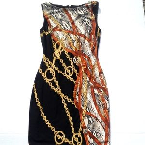 Cache Python and gold chain print bodycon dress