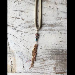 Handmade Long Necklace Suede & Stone W. Tassel