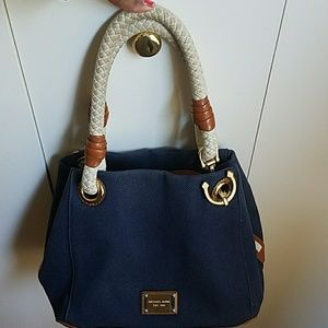 Women's Navy Blue Handbag With Brown Handles on Poshmark