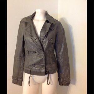 Zara Jackets & Blazers - Zara Gray Faux Leather Moto Biker Jacket M