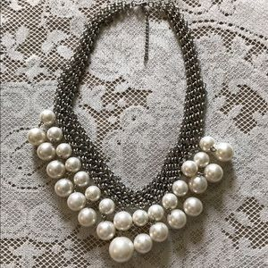 Silver & Pearl Statement Necklace