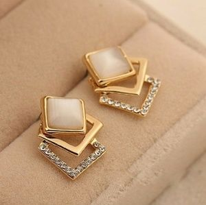 Jewelry - New!! 18k Geometric Open Square Opal Cz Earrings