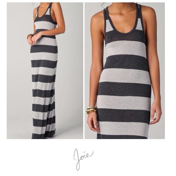 e4c744e6baa Joie Dresses   Skirts - Soft Joie Gray Striped Maxi Deirdre Deck Dress
