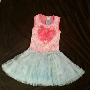 Little Mass Other - Little Mass NWT Coral Pink & Aqua Tutu Dress