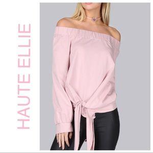 Haute Ellie Tops - 🆕 Off Shoulder Bow Tie Hem T-Shirt-Blush