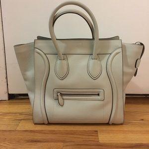 Celine Handbags - Celine mini luggage tote in Lune drummed calfskin