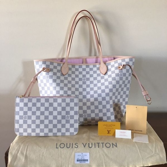 0ebe72d7090 LOUIS VUTTON Neverfull MM Damier Azur