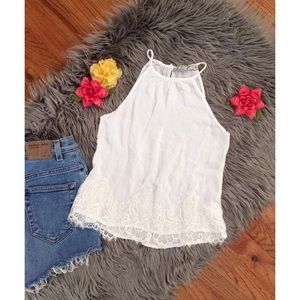 Chloe K Tops - White Lace High Neck Top 🌼