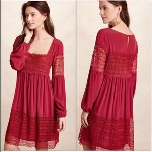 Anthropologie Red lace empire waist  dress