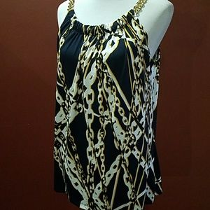 August Silk Tops - August Silk nautical tank with gold chain straps