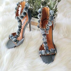 CAPE ROBBIN Shoes - NEWCape Robbin GrayAlza Wrapped Button Heel Sandal