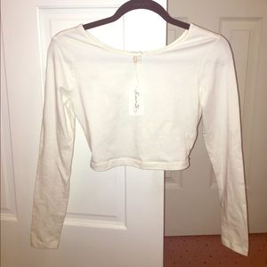 NWT Forever 21 long sleeve crop top white
