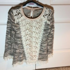Anthropology Champagne & Strawberry Sweater
