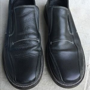 Robert Wayne Shoes - Men's Robert Wayne Black Leather Slip On Shoes 13M