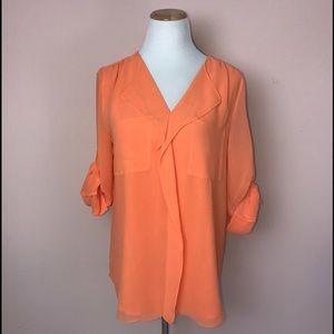Calvin Klein Orange Tab Sleeve Blouse Medium