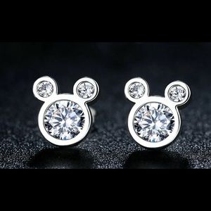 Other - MOUSE CZ SPARKLING EARRINGS 925 STERLING SILVER