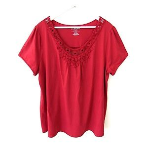 Lane Bryant Tops - Lane Bryant Relaxed Fit Top Crochet Detail 22/24W