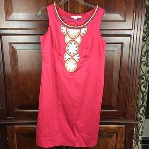 Boden pink tunic sleeveless beaded dress 10 petite