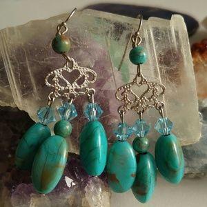 Jewelry - Boho dangling earrings faux turquoise silver tone