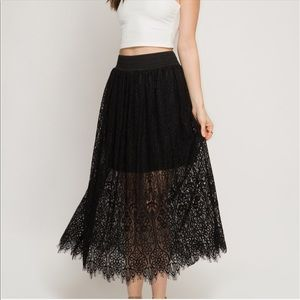 She and Sky Dresses & Skirts - ✨AVAILABLE✨ Lace Midi Skirt with Elastic Waist