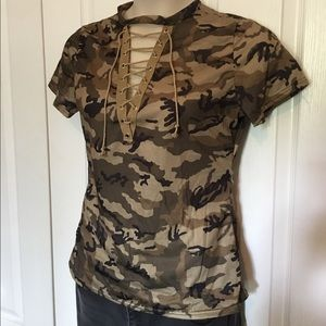 839889f72521c Lace up Camouflage Short Sleeve Top. Boutique