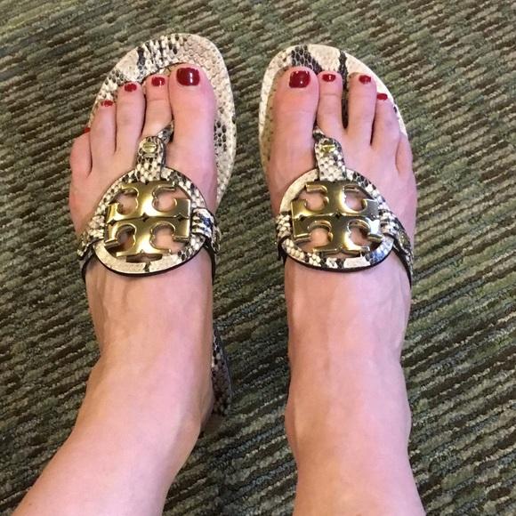 4d328f2d3c35e Tory burch snake print miller sandals sz 9. M 5930d2dbb4188ef8af00eb83