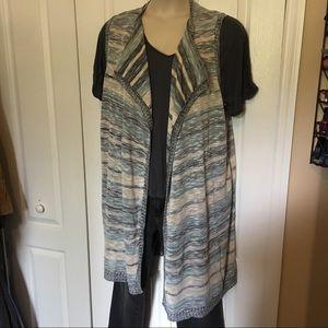 Plus size long sweater vest