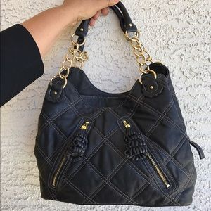 Lou Ella Large Black Quilted bag with tassels