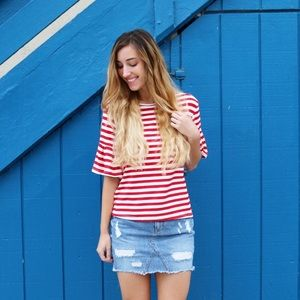 Tops - red striped top