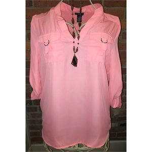 Rue21 Tops - Coral/Pink Roll Sleeve Tunic
