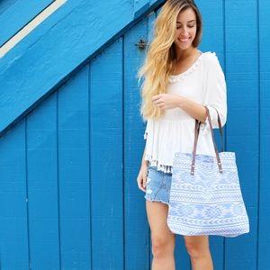 blue aztec tote bag
