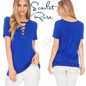 Scarlet Rose Boutique Tops - 🌹Royal Blue Soft Blouse with Criss Cross Front🌹
