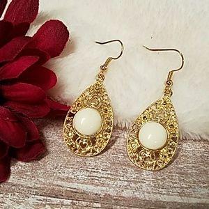 Jesi's Fashionz  Jewelry - Gold Filigree Drop Earrings w/Ivory Cobochon
