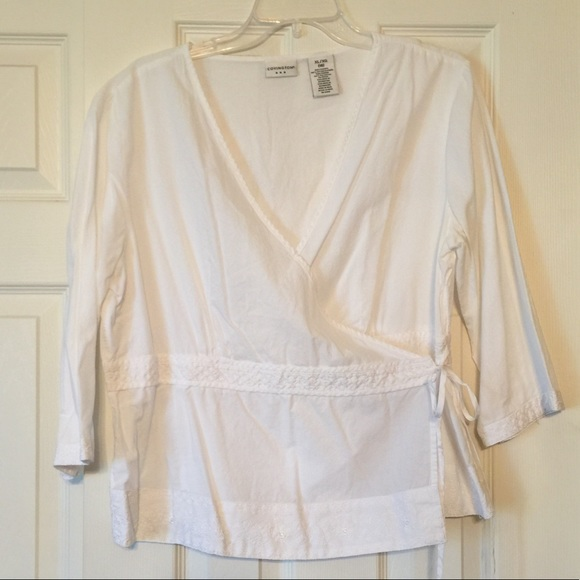 70 off covington tops white cotton wrap around shirt for Wrap house covington