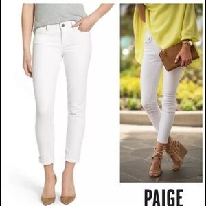 Paige Jeans Denim - Paige Kylie Crop Roll Up Skinny Jeans Optic White