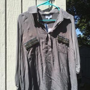Joseph Allen Tops - NWT grey blouse with metal stud decor
