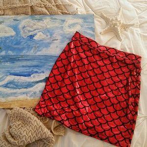 Dresses & Skirts - Red Mermaid Scales Mini Skirt