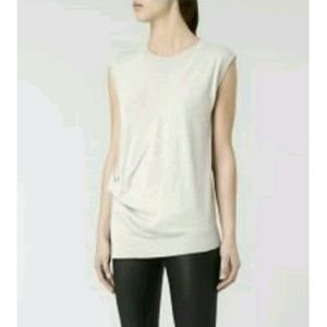All Saints Crossover Draped Front Grey Lapse Tank