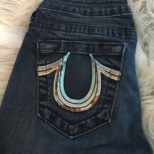 True Religion Denim - True Religion rainbow sequin skinny jeans